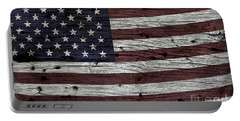 Wooden Textured Usa Flag3 Portable Battery Charger