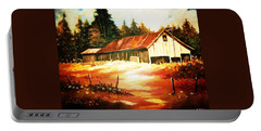 Portable Battery Charger featuring the painting Woodland Barn In Autumn by Al Brown