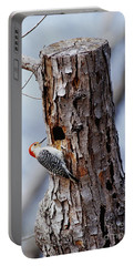 Woodpecker And Starling Fight For Nest Portable Battery Charger by Gregory G. Dimijian