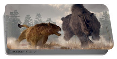 Portable Battery Charger featuring the digital art Woolly Rhino And Cave Lion by Daniel Eskridge