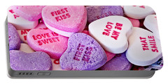 Portable Battery Charger featuring the photograph Valentine Candy Hearts by Vizual Studio
