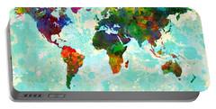 World Map Splatter Design Portable Battery Charger