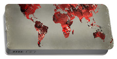 World Map - Watercolor Red-black-gray Portable Battery Charger by Paulette B Wright