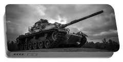 World War II Tank Black And White Portable Battery Charger