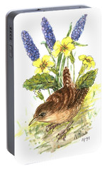 Wren In Primroses  Portable Battery Charger by Nell Hill
