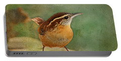Wren With Verse Portable Battery Charger by Debbie Portwood