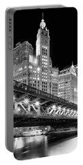 Wrigley Building At Night In Black And White Portable Battery Charger