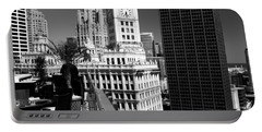 Wrigley Clock Tower Skyline Black White Portable Battery Charger
