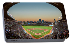 Wrigley Field Night Game Chicago Portable Battery Charger by Steve Gadomski