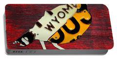 Wyoming Meadowlark Wild Bird Vintage Recycled License Plate Art Portable Battery Charger