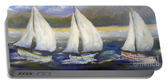 Yachts Sailing Off The Coast Portable Battery Charger by Pamela  Meredith