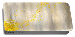 Yellow And Gray Landscape Portable Battery Charger by Lourry Legarde