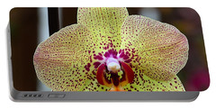 Yellow And Maroon Orchid Portable Battery Charger