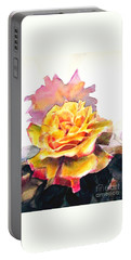 Portable Battery Charger featuring the painting Yellow Rose Fringed In Red by Greta Corens