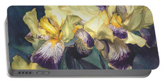 Yellow And Purple Streaked Irises Portable Battery Charger by Greta Corens
