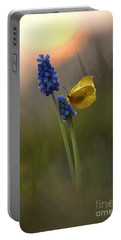 Yellow Butterfly On Grape Hyacinths Portable Battery Charger
