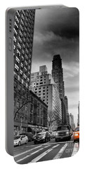 Yellow Cab One - New York City Street Scene Portable Battery Charger