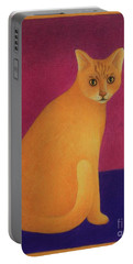 Yellow Cat Portable Battery Charger by Pamela Clements