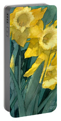 Watercolor Painting Of Blooming Yellow Daffodils Portable Battery Charger