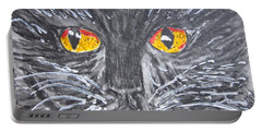 Yellow Eyed Black Cat Portable Battery Charger