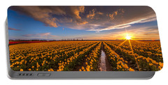 Yellow Fields And Sunset Skies Portable Battery Charger