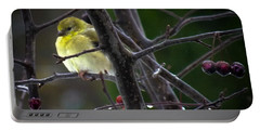 Yellow Finch Portable Battery Charger by Karen Wiles