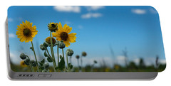 Yellow Flower On Blue Sky Portable Battery Charger