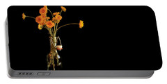 Orange Flowers On Black Background Portable Battery Charger