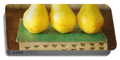 Yellow Pears And Vintage Green Book Still Life Portable Battery Charger