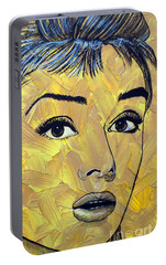 Portable Battery Charger featuring the painting Yellow Pop Audrey by Malinda Prudhomme