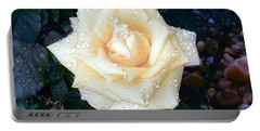 Portable Battery Charger featuring the photograph Yellow Rose At Dawn by Alys Caviness-Gober
