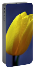 Yellow Tulip On Blue Background Portable Battery Charger