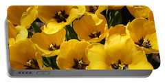 Portable Battery Charger featuring the photograph Golden Tulips In Full Bloom by Dora Sofia Caputo Photographic Art and Design