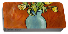 Yellow Tulips In A Turquoise Vase Portable Battery Charger