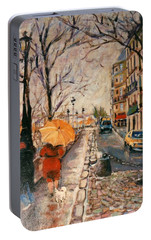Portable Battery Charger featuring the painting Yellow Umbrella by Walter Casaravilla