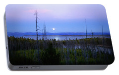 Portable Battery Charger featuring the photograph Yellowstone Moon by Ann Lauwers