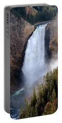 Lower Yellowstone Falls Portable Battery Charger by Athena Mckinzie