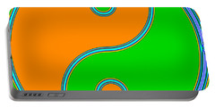 Yin Yang Orange Green Pop Art Portable Battery Charger by Eti Reid