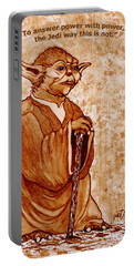Portable Battery Charger featuring the painting Yoda Wisdom Original Coffee Painting by Georgeta Blanaru