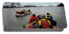Young Adults Rafting On Alsek River Portable Battery Charger