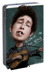 Young Bob Dylan Portable Battery Charger by Andre Koekemoer