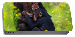 Young Chimpanzee With Adult - II Portable Battery Charger