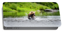 Young Grizzly Chasing Salmon Portable Battery Charger