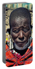 Portrait Of Young Maasai Woman At Ngorongoro Conservation Tanzania Portable Battery Charger by Amyn Nasser