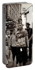 Portable Battery Charger featuring the photograph Young Man And Guy With Cap - Times Square by Miriam Danar