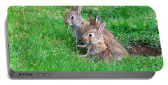 Young Rabbits Portable Battery Charger by Nick  Biemans
