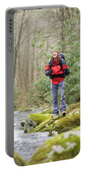 Young Woman Hiking In Great Smokies Portable Battery Charger