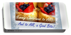 Yummy Christmas To All - Strawberry Tarts - Holiday And Christmas Card Portable Battery Charger