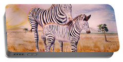 Zebra And Foal Portable Battery Charger