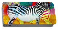 Zebra Colors Of Africa Portable Battery Charger by Barbara Chichester